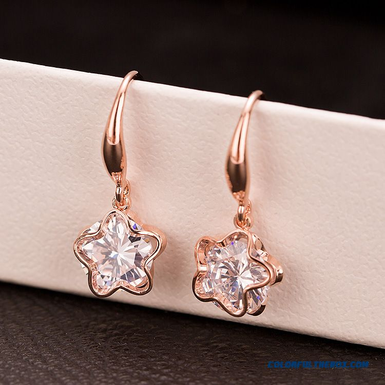 Women Upscale Big Fashion Class 3a Zircon Earrings Pentagram Earrings Stud Earrings Ear Jewelry