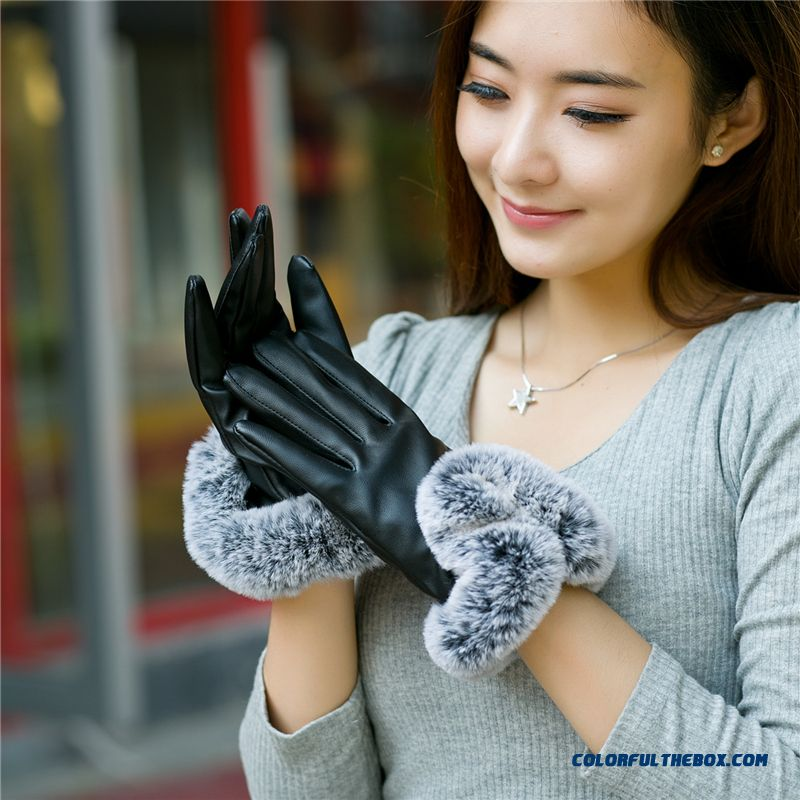 Women Winter Accessories Cute Rabbit Driving Leather Gloves Touch Screen Thin Thicken Gloves Mittens