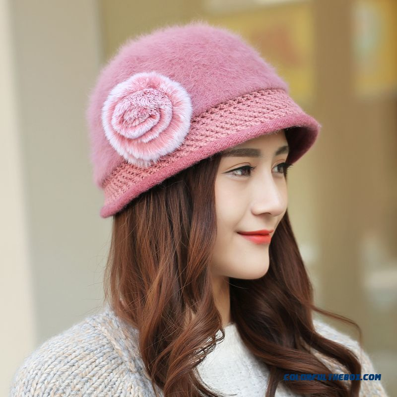 Women Winter Angora Wool Blend Flowers Elegant Woolen Fisherman Caps Women  Accessories Free Shipping 9d95e7397c