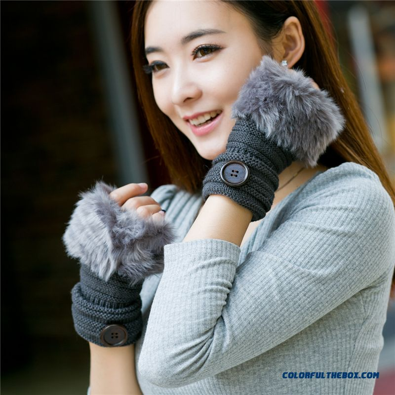 Women Winter Couple Half-finger Gloves Students Knitted Warm Gloves Cartoon Button Mittens Free Shipping