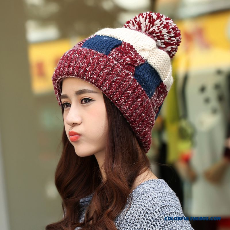 03c410b0101 Women Winter Korean Style Tidal Fashion Cute Knitted Hat With Protect Ear  Function