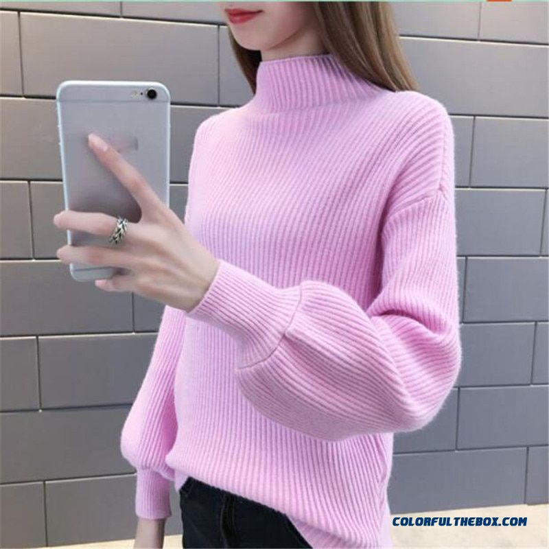 Women Winter Sweaters Fashionable Turtlenecks Short Long Sleeve Pullovers Loose Elasticity Knit Sweaters Women Jumpers Top As903