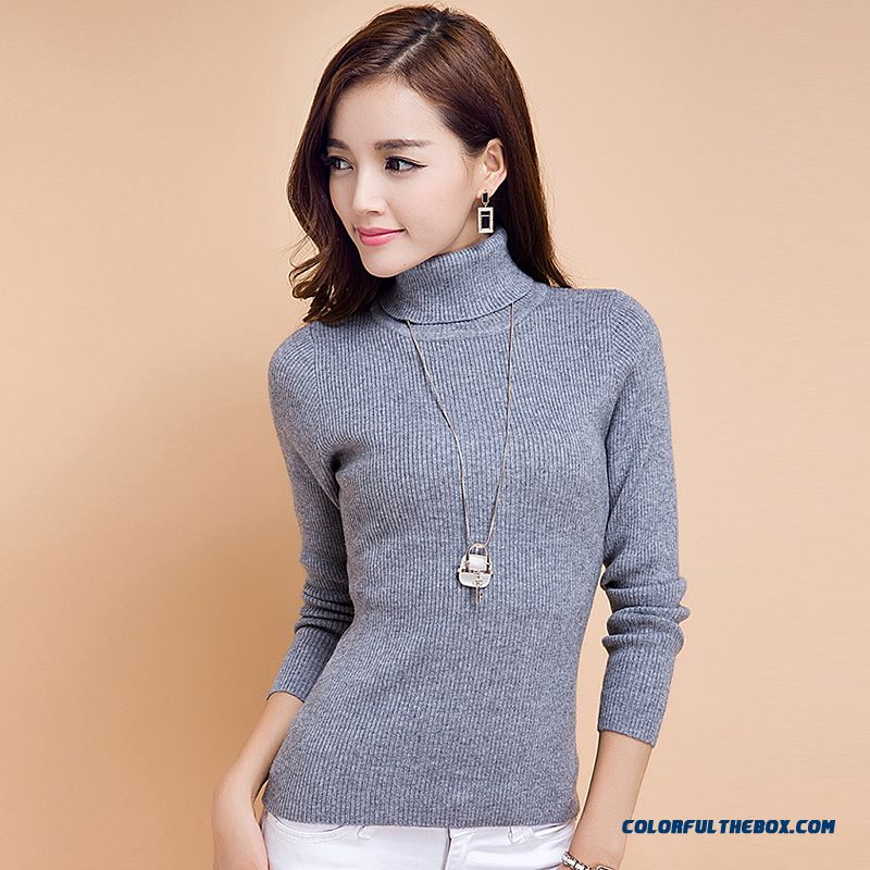 Women Wool Knitted Sweater High Neck Bottoming-shirt Thick Pull Blouson