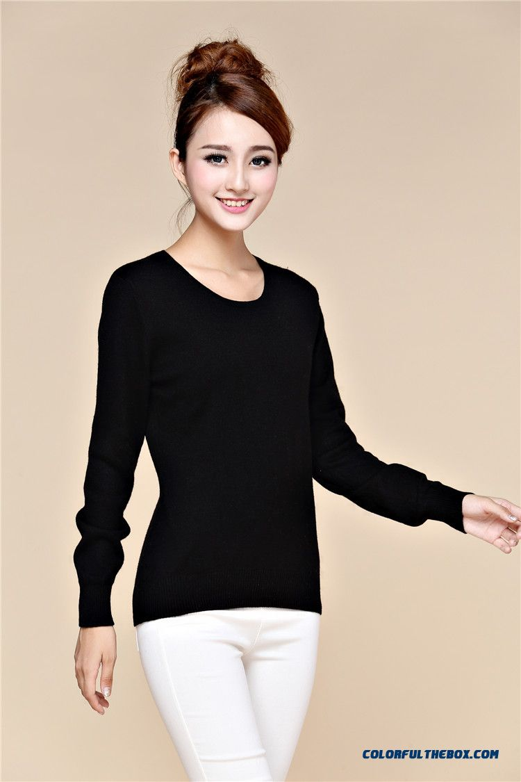 Women Wool Sweater Knitted Sweater Lady Slim Thin Pull Blouson Bottoming Shirt