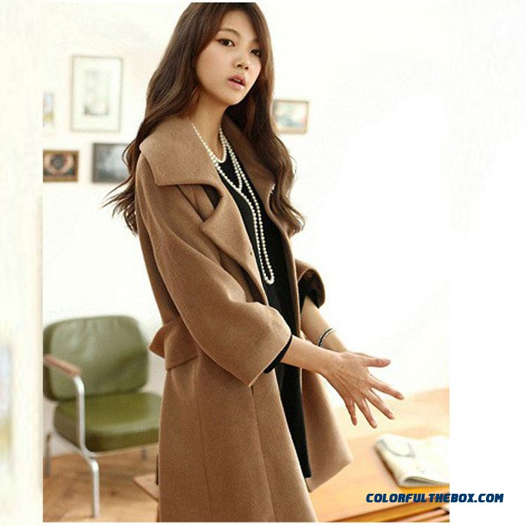 Women Woolen Coat 2015 Fall And Winter New Loose Thin Large Size Warm Fashion Tide