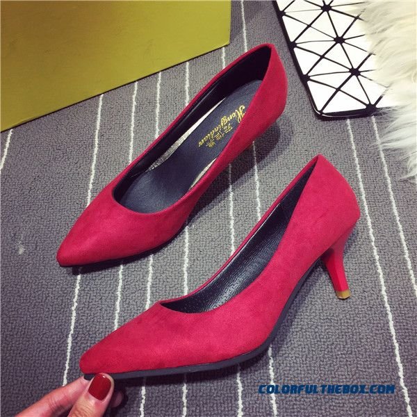 18488b1b93d Cheap Women Work Shoes Red High Heels Pointed Fine Heel Shallow ...