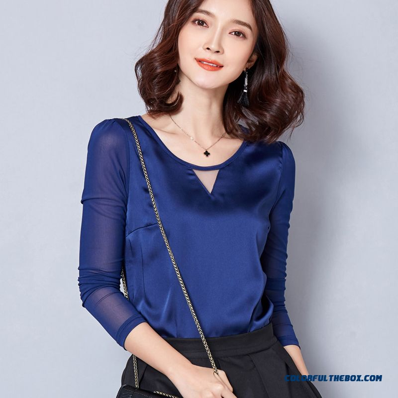 Women 's Blouses Splicing Sexy Hollow Classic Tee Pure Hedging Bottoming Shirt Blue Red