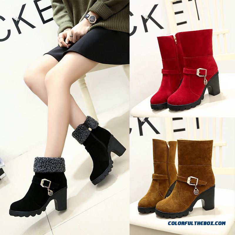 Women's Boots With Buckle High-heeled Side Zipper Round-toe Thick Heel