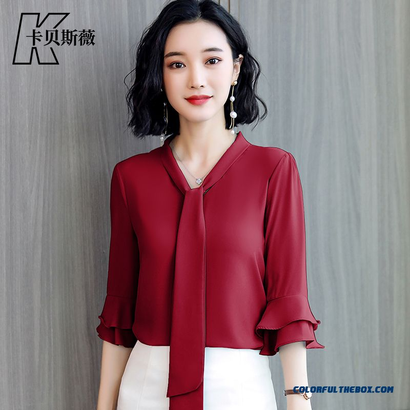 Women's Chalaza Shirt Bow Red Slim Coat New Chiffon 2019 Summer Short Sleeve All-match