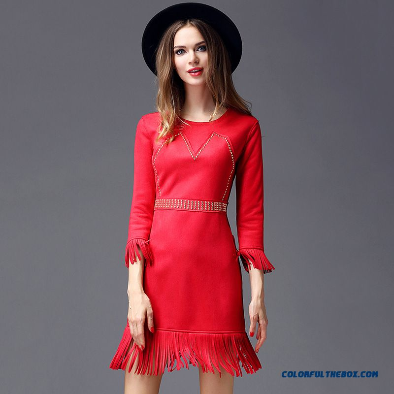 Women's Clothing Dress Hollow Dress Embroidered Dress Black Red Fishtail Wholesale