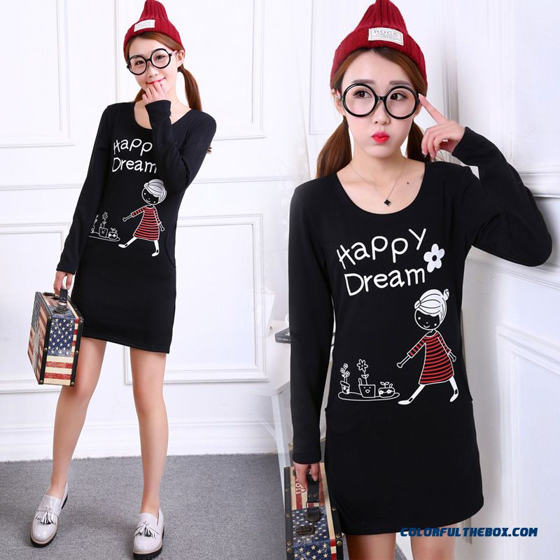 Women's Clothing Plus Thick Velvet Medium-long Bottoming Shirt T-shirt Crew Neck