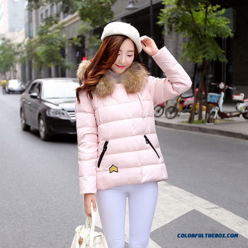Women's Coat Slim Pink Thick Fur Collar Female Hooded Padded Cotton Jacket - more images 1