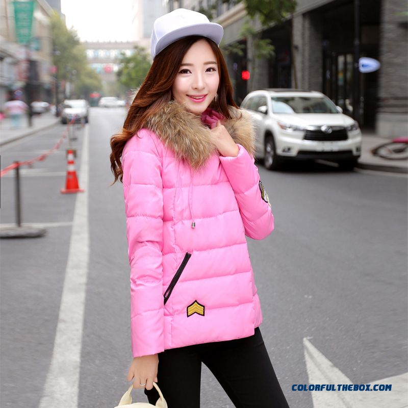 Women's Coat Slim Pink Thick Fur Collar Female Hooded Padded Cotton Jacket - more images 2