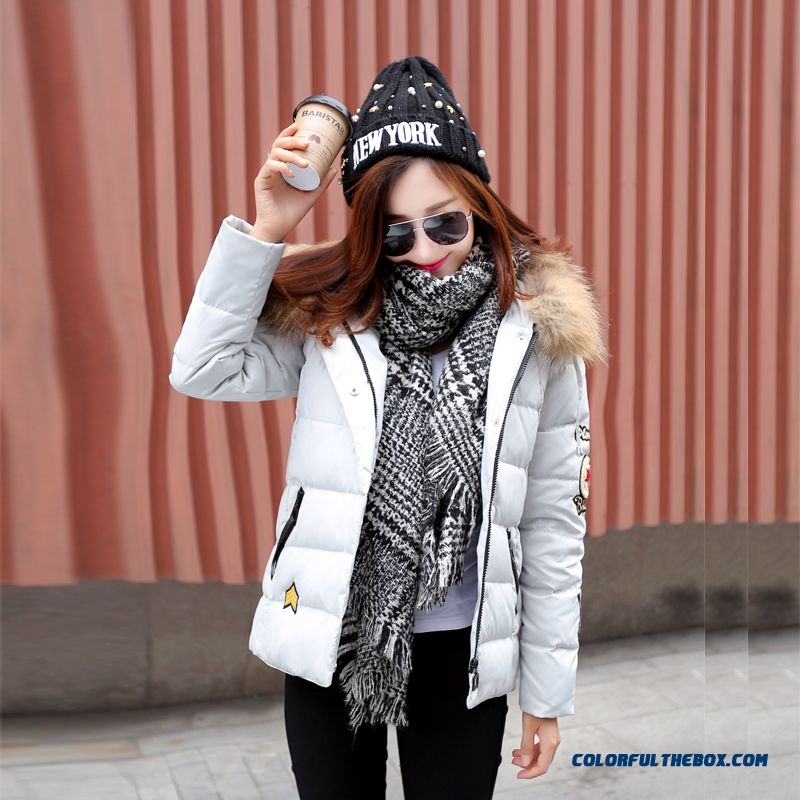 Women's Coat Slim Pink Thick Fur Collar Female Hooded Padded Cotton Jacket - more images 3