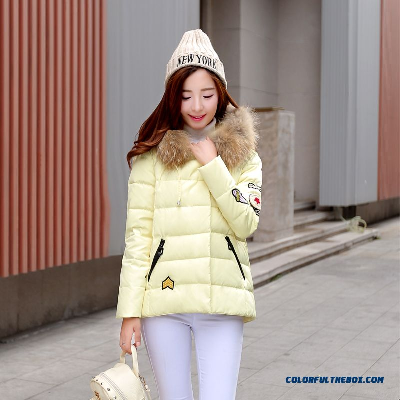 Women's Coat Slim Pink Thick Fur Collar Female Hooded Padded Cotton Jacket - more images 4