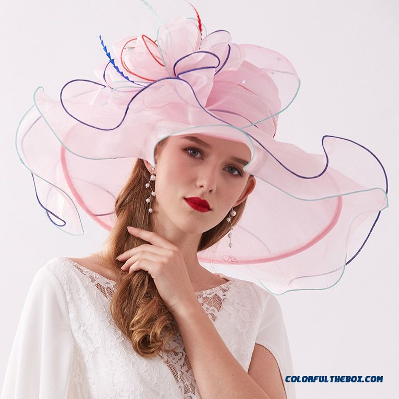 Women's Crimping Big Sun Hats Fashion Organza Wide Brim Hat Travel Out Shopping Cap Women Beach Summer Hat 2019 Chapeau Paille