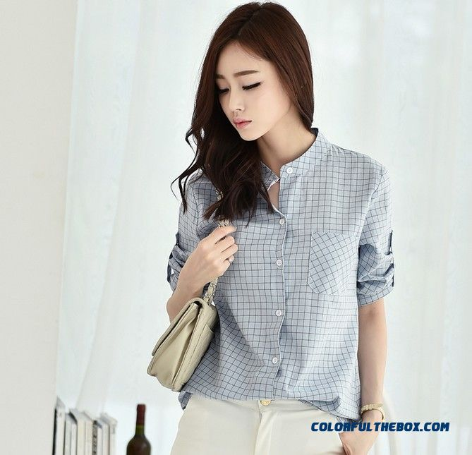 Women's Fashion Standing Collar Shirt Bottoming Shirt