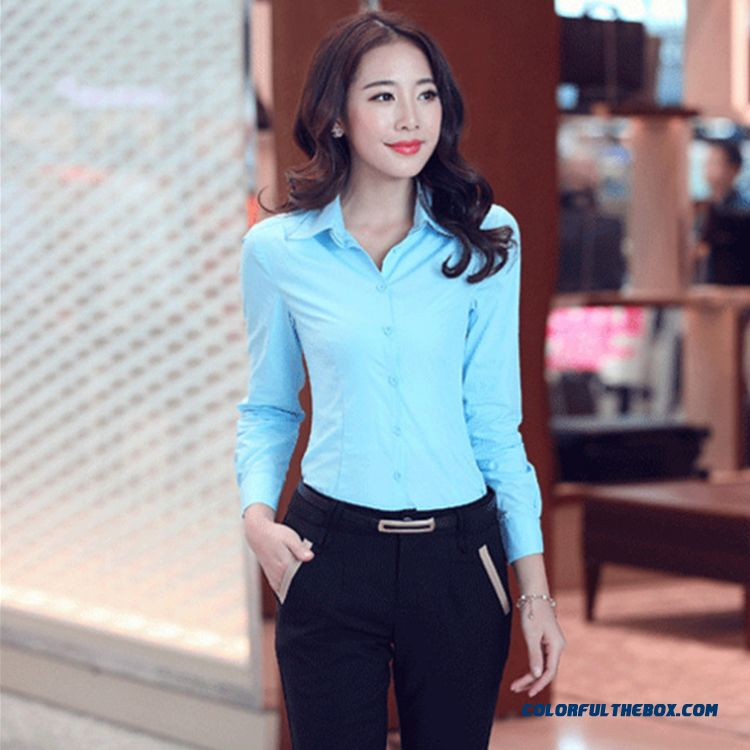 Women's Favorite Long-sleeved V-neck Slim Occupational Overalls Formal Wear Shirt Plus Size