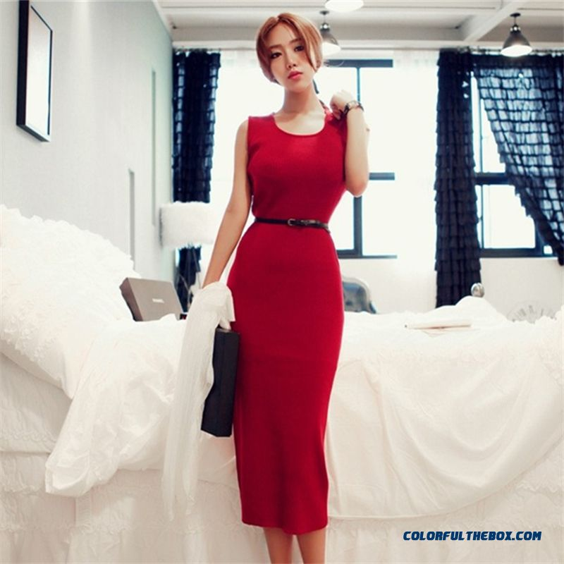 Women's Sexy Slim Package Hip Red Sleeveless Dress Free Shipping