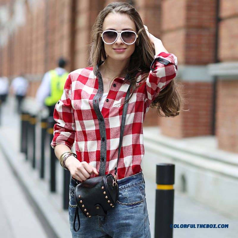 Women's Shirt Placket Stitching Hit Color Slim Long-sleeved Plaid Shirt