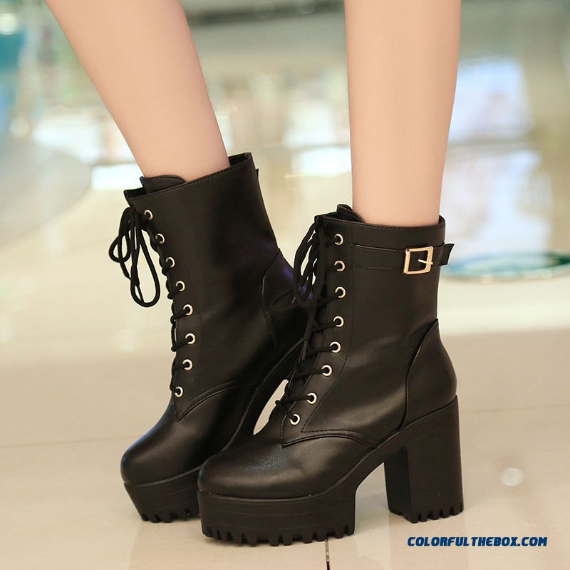 Women's Shoes Half Boots Thick Heel Round-toe Retro Belt Buckle Martin Boots Fashion