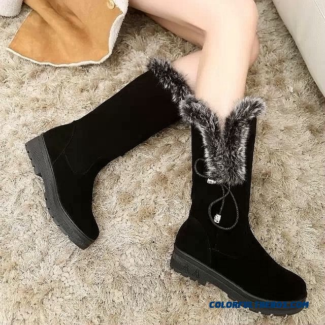 Women's Shoes Nubuck Thick Bottom Snow Boots Waterproof Fringed Rabbit Fur
