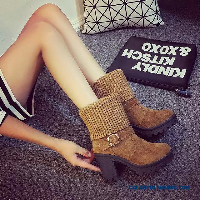 Women's Shoes Round-toe Thick Heel Casual With Buckle Knitted Ankle Boots