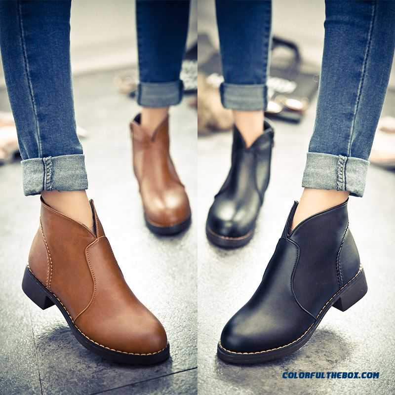 Women's Shoes Side Zipper Thick Heel Round-toe Retro Ankle Boots