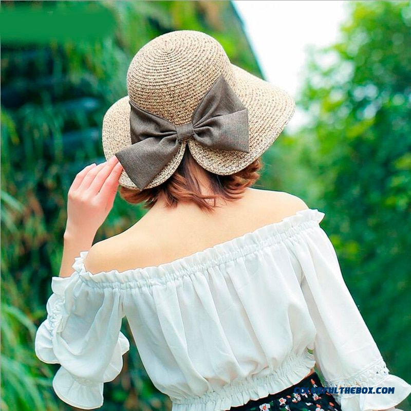Women's Sun Hat Big Bow Wide Brim Floppy Summer Hats For Women Beach Panama Straw Hat Sun Protection Visor Femme Cap