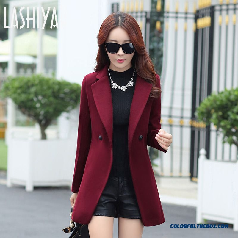 Women's Woolen Coat Female 2015 Autumn And Winter New Thin Double-breasted Black
