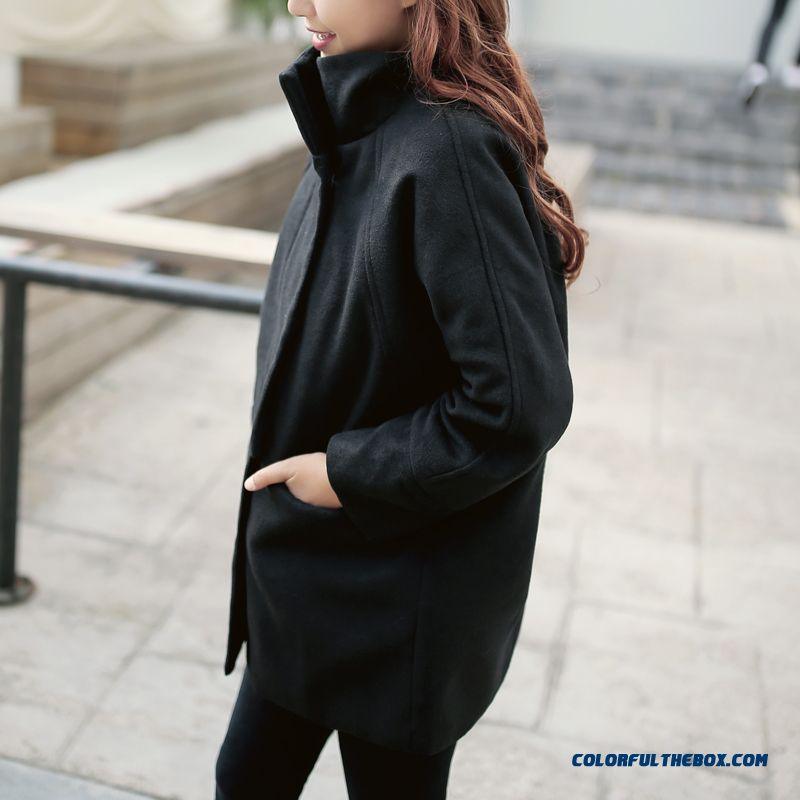 Women's Woolen Coats Fall And Winter Clothes New Loose Black Long Slim
