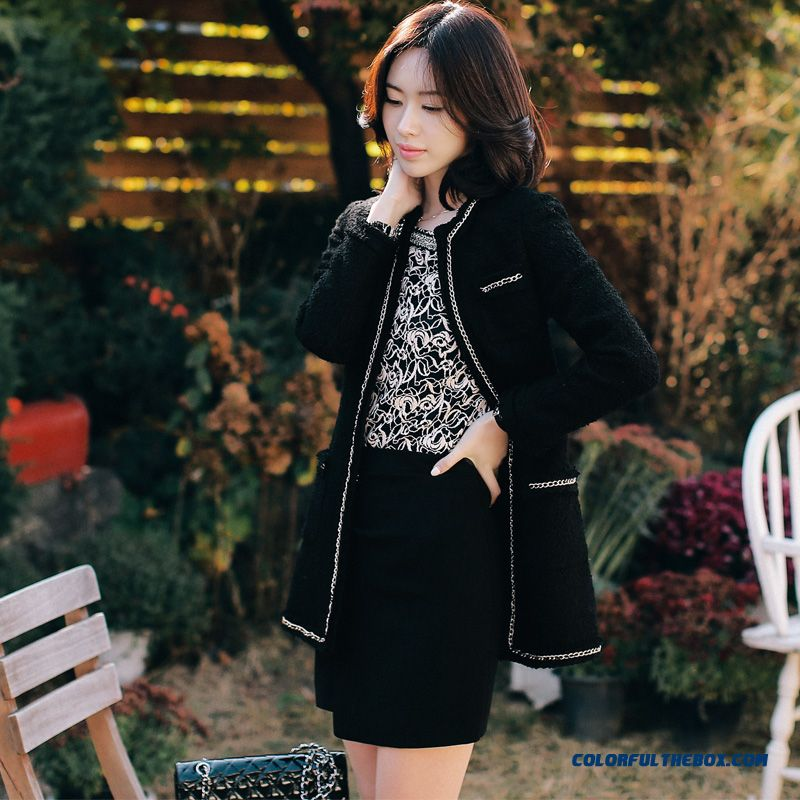 Women's Woolen Coats Fall And Winter Elegant New Slim Black Soldes
