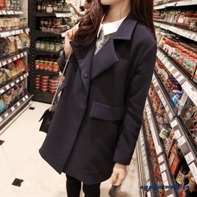 Women's Woolen Coats Fall And Winter Medium-long Loose Navy Blue Tide - more images 4