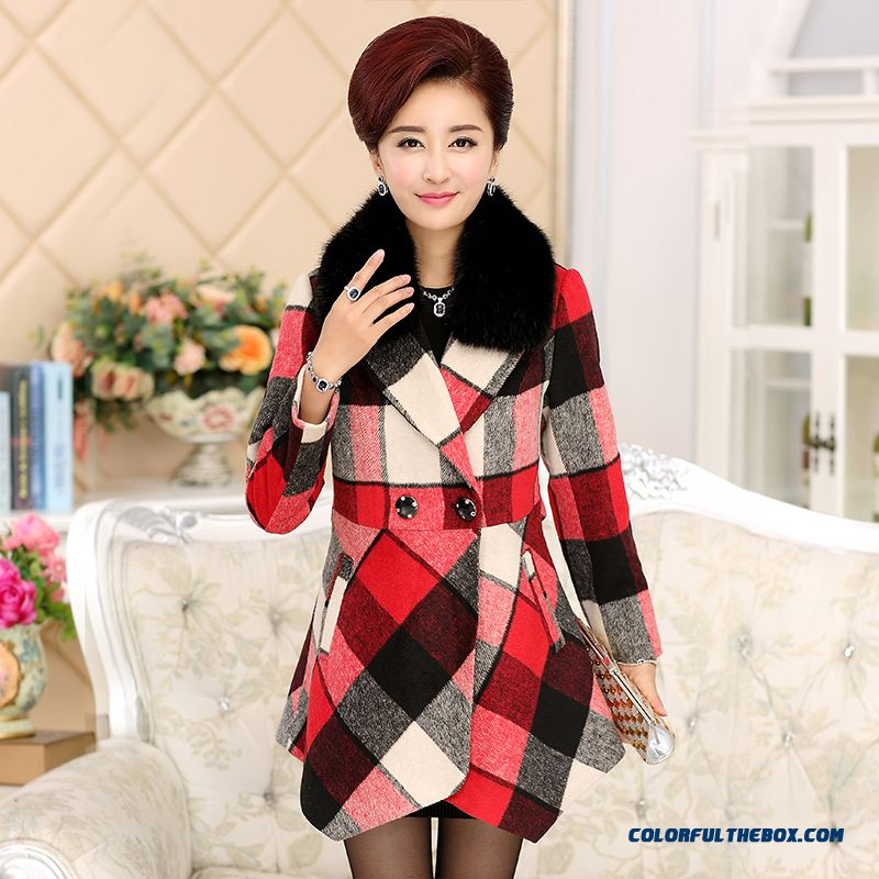 Womne Clothing Long-sleeved Wool Woolen Coat With Fur Collar Plaid Coat