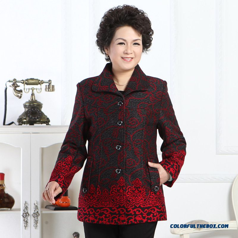 Woolen Coat Blouses Middle-aged Women Large Size Red Green Rose
