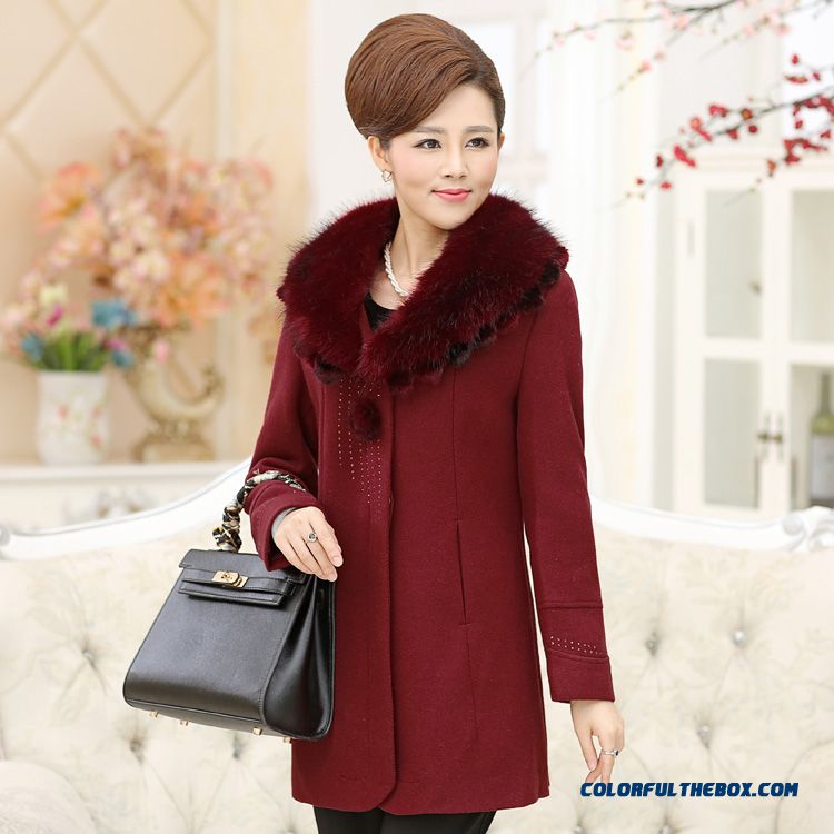 Woolen Coat Woolen Coat Elderly Women Lotus Leaf Collar Large Buttons For Women