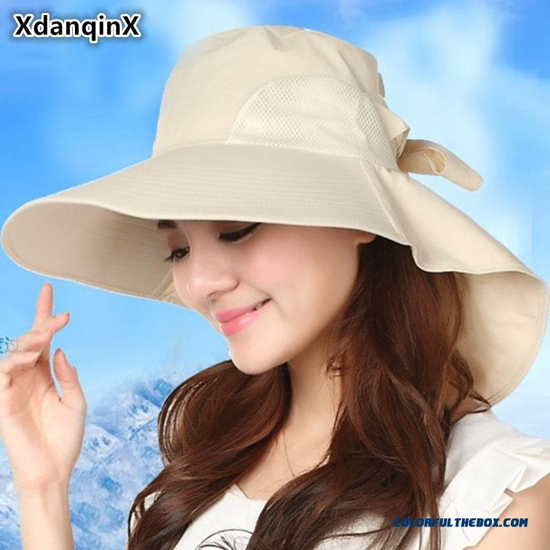 07455a18b Xdanqinx Women's Hats Summer Big Brim Hat Foldable Mesh Breathable Sun Hat  Fashion Uv Proof Beach