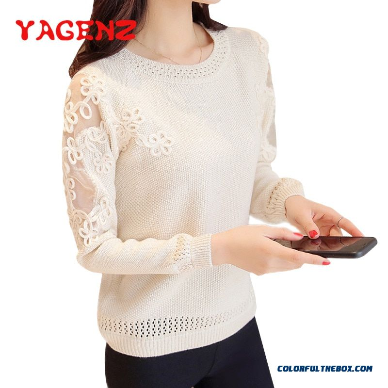Yagenz Lace Patchwork Knit Sweater Spring Autumn Sweater Women Long Sleeve Pullover Knitted Women Basic Sweaters Knit Tops Femme
