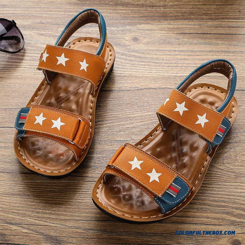 Yellow Brown Blue Open Toe Summer Five-pointed Star Boys' Sandals Kids Shoes