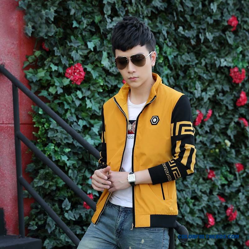 Young Men Fashion Stand Collar Stitching Slim Casual Jacket In Autumn And Winter