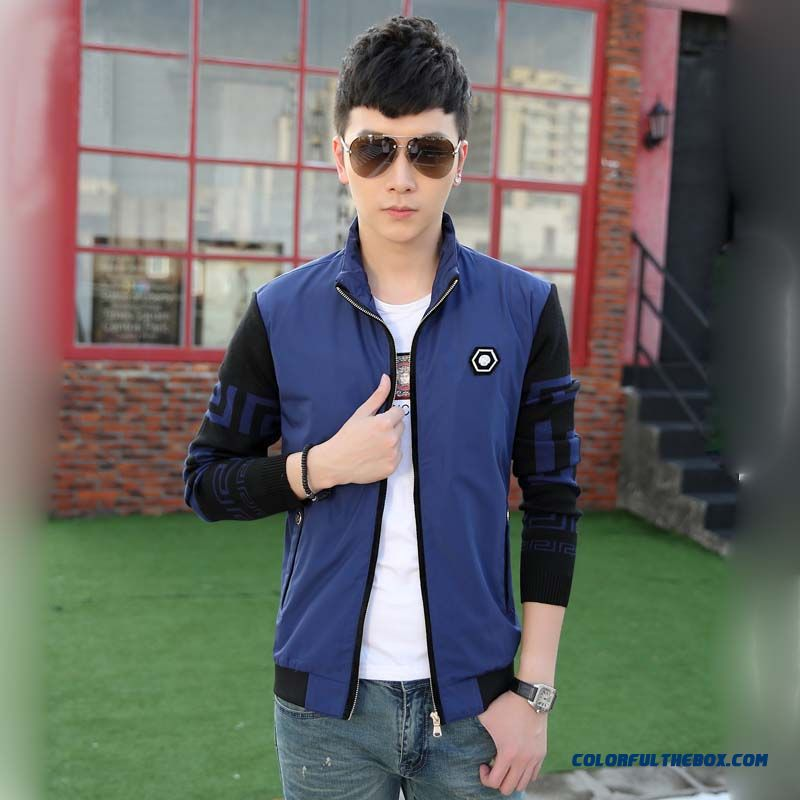 Cheap Young Men Fashion Stand Collar Stitching Slim Casual Jacket In