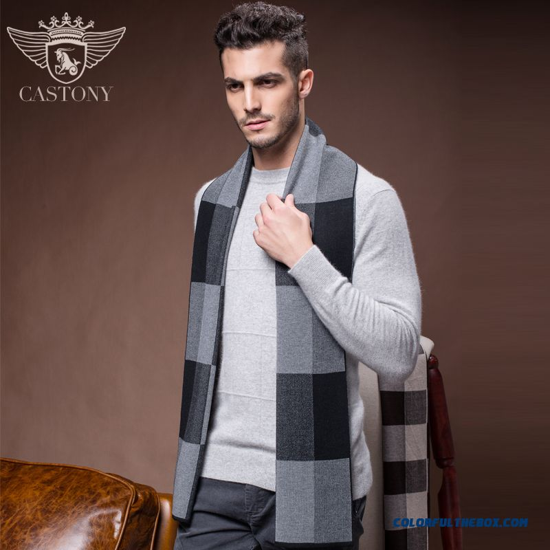Young Men Scarves Winter Warm Thick Plaid Middle-aged Cashmere Wool Scarf