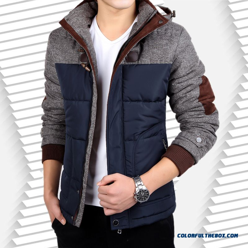 Young Men Short Cotton Hooded Padded Winter Slim Thick Large Sizre Winter Down Jacket