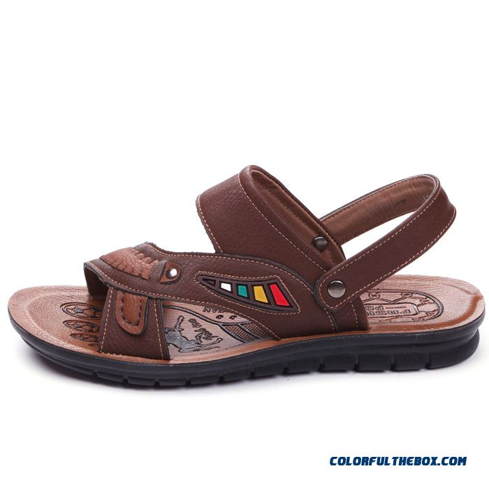Young Men Summer Sandals Round-toe Leather Beach Shoes - more images 4
