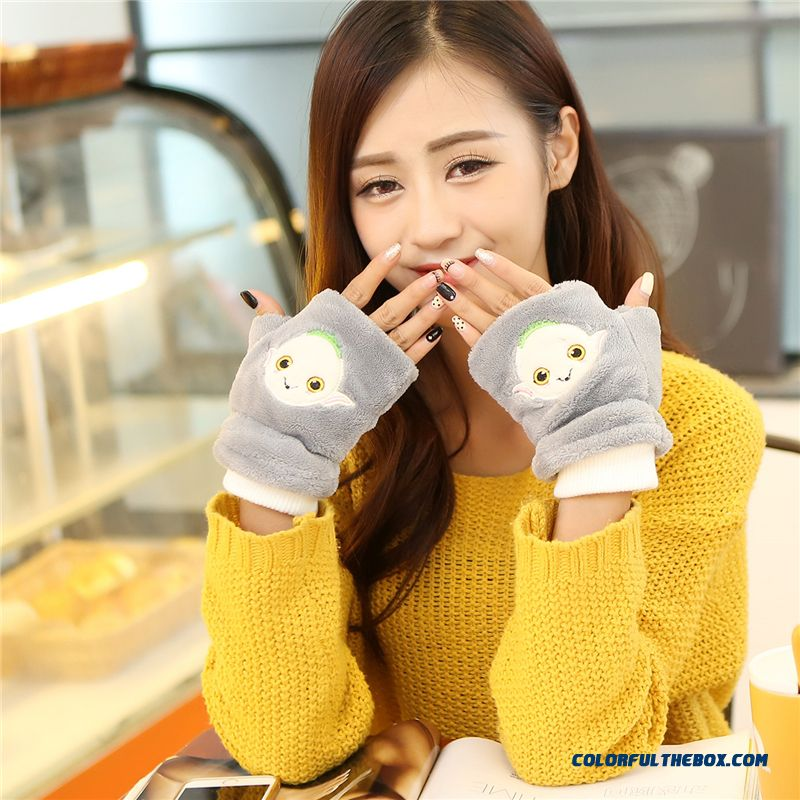 Young Women Accessories Half-finger Gloves Exposed Finger Mittens Cute