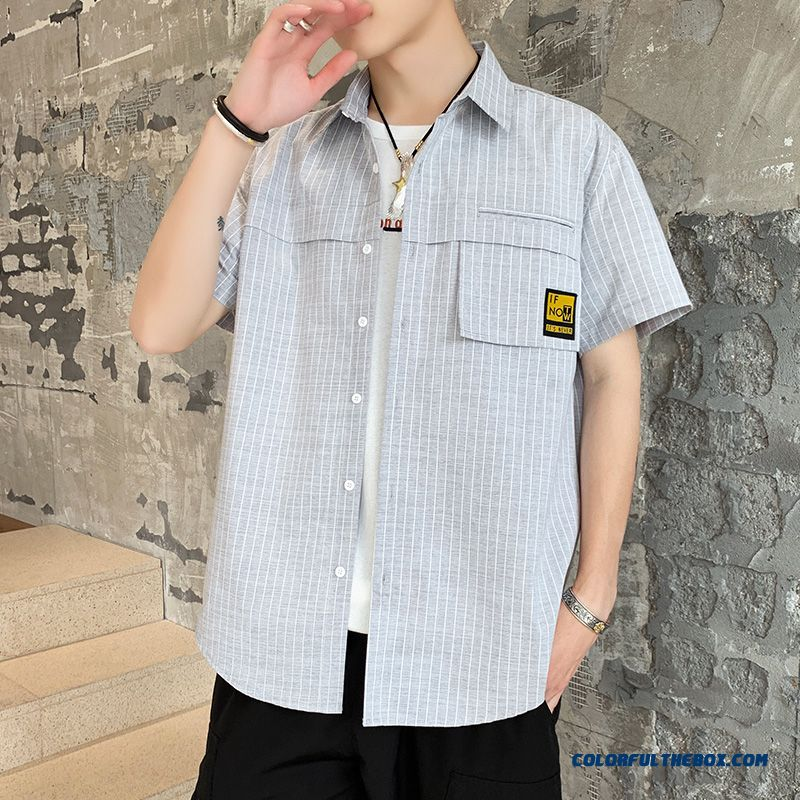 Youth 2019 Shirt Summer Men's Short Sleeve Trend Stripes Gray Coat Loose