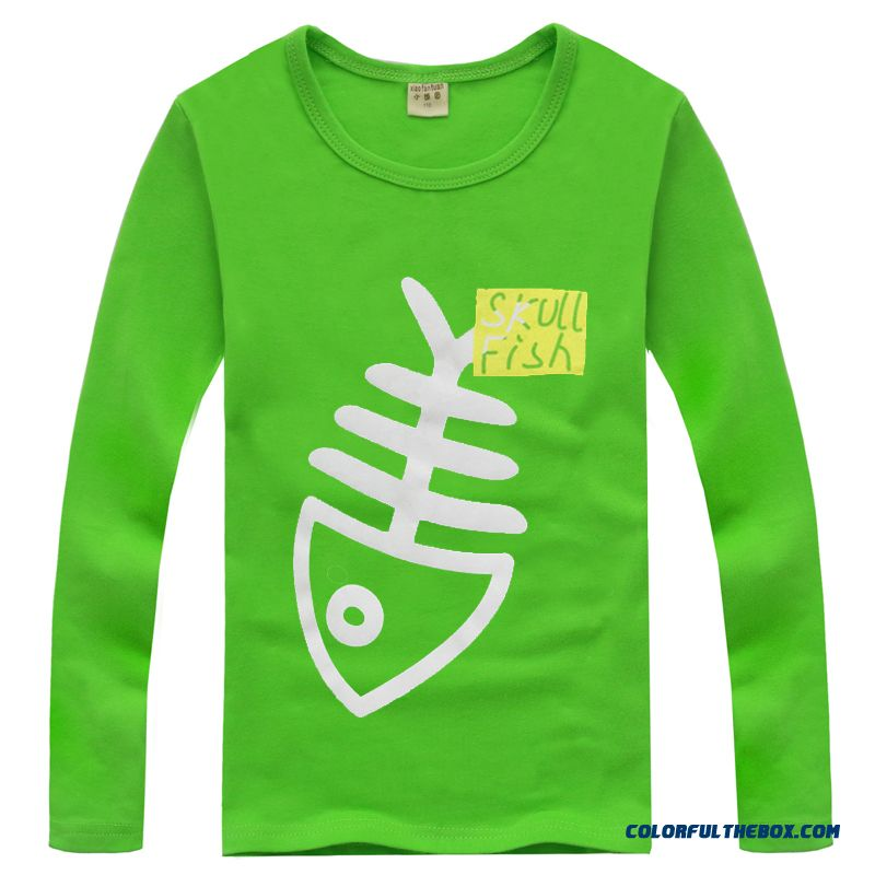 Youth Energetic Boys Kids Vrew Neck Cotton Long Sleeves T-shirts